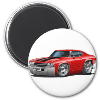 1969 Chevelle Red-Black Car 2 Inch Round Magnet