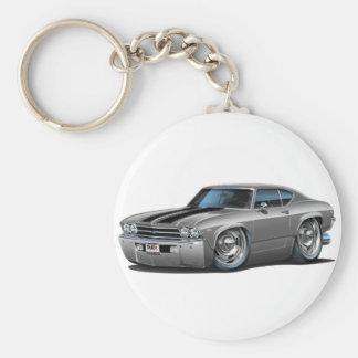 1969 Chevelle Silver-Black Car Key Chains
