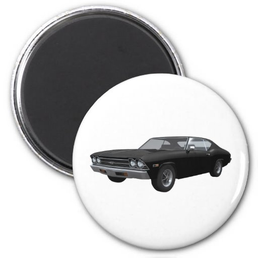 1969 Chevelle SS: Black Finish 2 Inch Round Magnet
