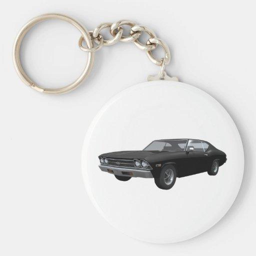 1969 Chevelle SS: Black Finish Basic Round Button Keychain