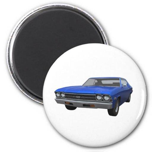 1969 Chevelle SS: Blue Finish Fridge Magnets