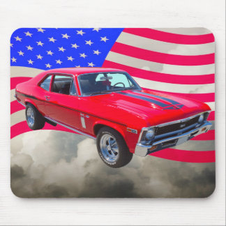 1969 Chevrolet Nova 427 With American Flag Mouse Pad