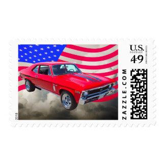 1969 Chevrolet Nova 427 With American Flag Postage Stamps