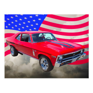 1969 Chevrolet Nova 427 With American Flag Postcard