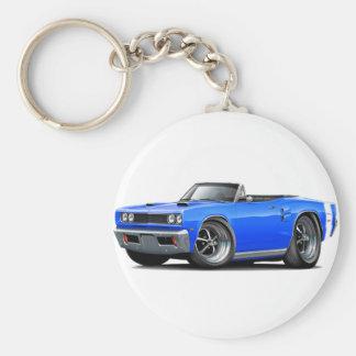 1969 Coronet RT Blue-White Double Scoop Hood Basic Round Button Keychain
