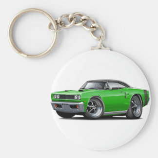 1969 Coronet RT Green-Black Top Double Scoop Hood Basic Round Button Keychain