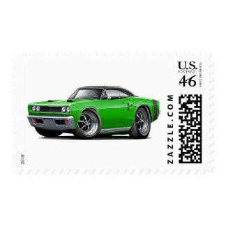 1969 Coronet RT Green-Black Top Double Scoop Hood Postage Stamp
