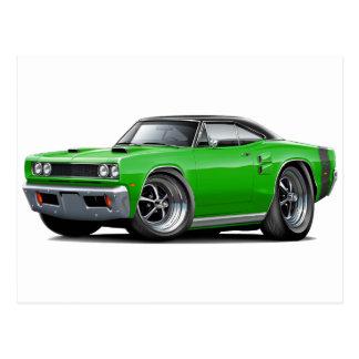 1969 Coronet RT Green-Black Top Double Scoop Hood Postcard