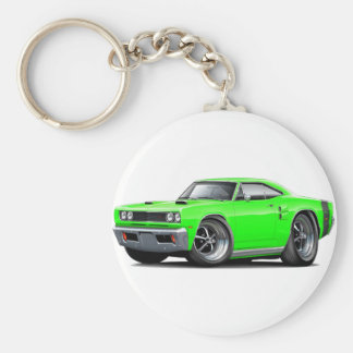 1969 Coronet RT Lime-Black Double Scoop Hood Basic Round Button Keychain