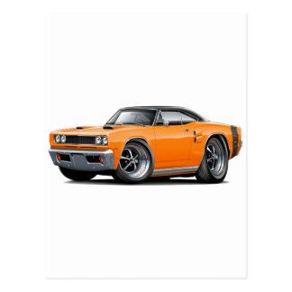 1969 Coronet RT Orange-Black Top Double Scoop Hood Postcard