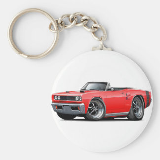 1969 Coronet RT Red-Black Double Scoop Hood Basic Round Button Keychain