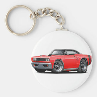 1969 Coronet RT Red-Black Top Double Scoop Hood Basic Round Button Keychain