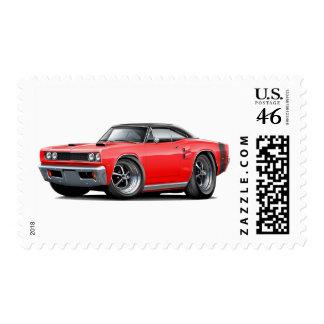 1969 Coronet RT Red-Black Top Double Scoop Hood Postage Stamps