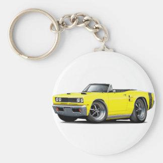 1969 Coronet RT Yellow-Black Double Scoop Hood Car Basic Round Button Keychain