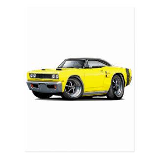 1969 Coronet RT Yellow-Black Top Double Scoop Hood Postcard