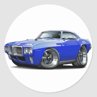 1969 Firebird Blue Car Classic Round Sticker