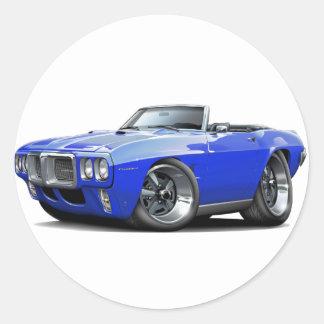 1969 Firebird Blue Convertible Classic Round Sticker