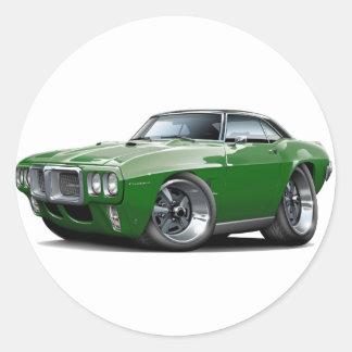 1969 Firebird Dark Green-Black Top Car Classic Round Sticker
