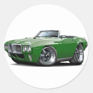 1969 Firebird Dark Green Convertible Classic Round Sticker