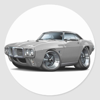 1969 Firebird Grey-Black Top Car Classic Round Sticker