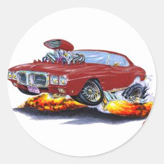1969 Firebird Maroon Car Classic Round Sticker