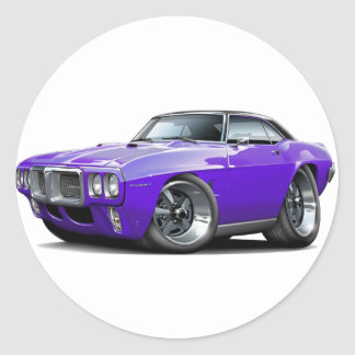 1969 Firebird Purple-Black Top Car Classic Round Sticker