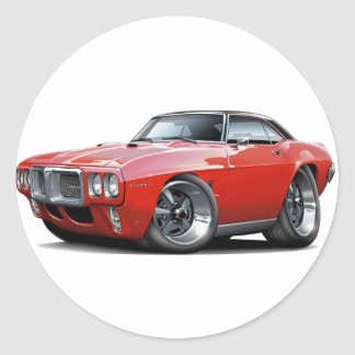1969 Firebird Red-Black Top Car Classic Round Sticker