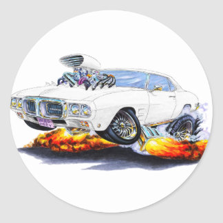 1969 Firebird White Car Classic Round Sticker