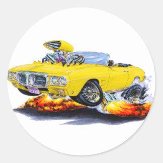 1969 Firebird Yellow Convertible Classic Round Sticker