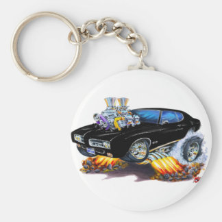 1969 GTO Black Car Basic Round Button Keychain