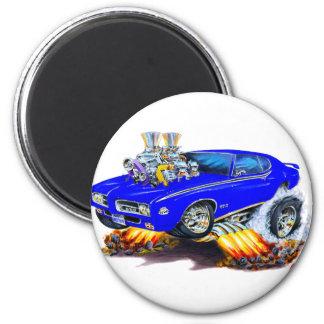 1969 GTO Judge Blue Car 2 Inch Round Magnet