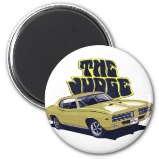 1969 GTO Judge Gold Car 2 Inch Round Magnet