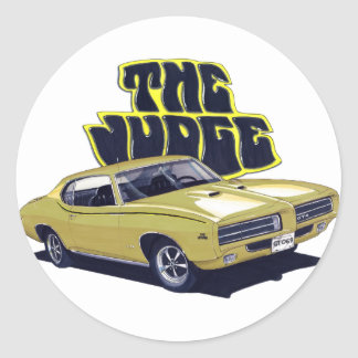 1969 GTO Judge Gold Car Classic Round Sticker