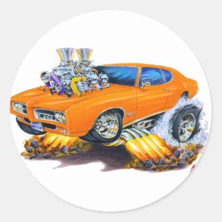 1969 GTO Orange Car Classic Round Sticker