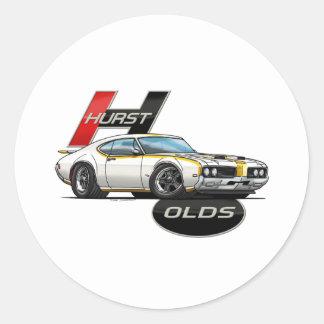 1969 Hurst Olds Cutlass Classic Round Sticker