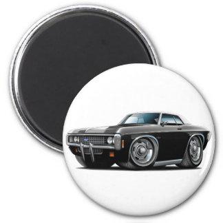 1969 Impala Black-White Top Car 2 Inch Round Magnet