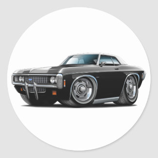 1969 Impala Black-White Top Car Classic Round Sticker