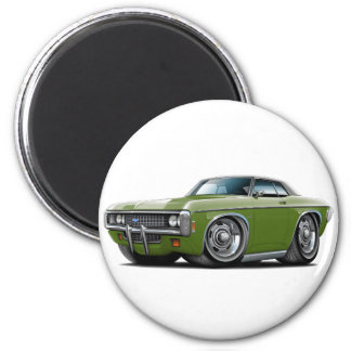 1969 Impala Frost Green-Black Top Car 2 Inch Round Magnet