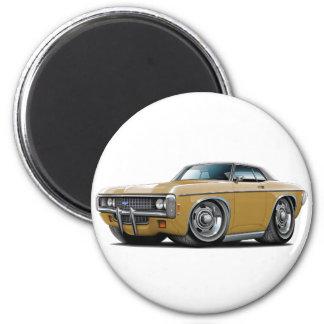 1969 Impala Gold-Black Top Car 2 Inch Round Magnet