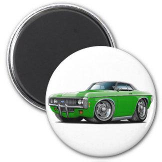 1969 Impala Green-Black Top Car 2 Inch Round Magnet