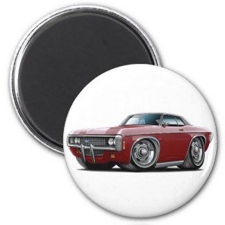 1969 Impala Maroon-Black Top Car 2 Inch Round Magnet
