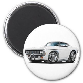 1969 Impala White-Black Top Car 2 Inch Round Magnet