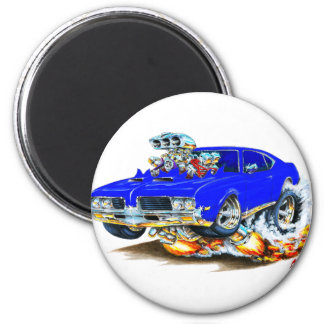 1969 Olds Cutlass Blue Car 2 Inch Round Magnet