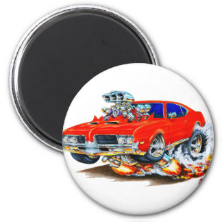1969 Olds Cutlass Red Car 2 Inch Round Magnet