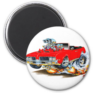 1969 Olds Cutlass Red Convertible 2 Inch Round Magnet