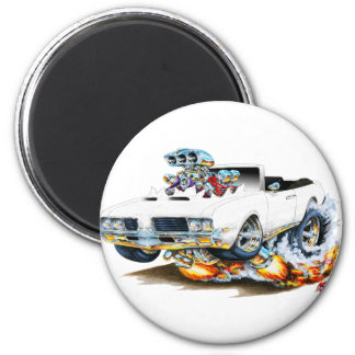 1969 Olds Cutlass White Convertible 2 Inch Round Magnet