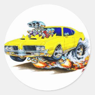 1969 Olds Cutlass Yellow Car Classic Round Sticker