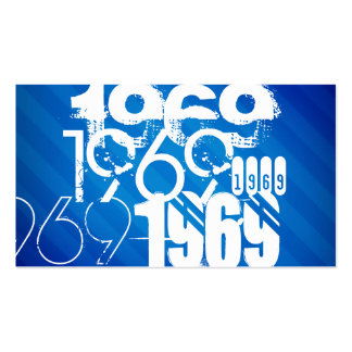 1969 on Royal Blue Stripes Business Card Template