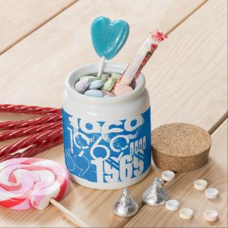 1969 on Royal Blue Stripes Candy Jar