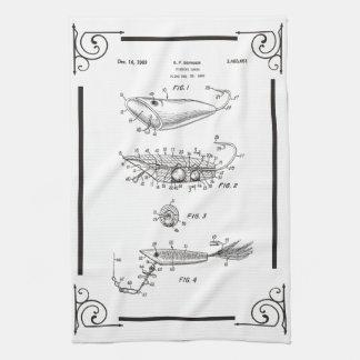 1969 patent drawing fish lure kitchen towel